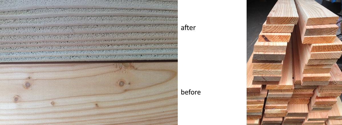 Sandblasted timber